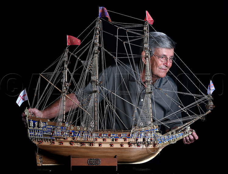 Jose Joy Colon spent about five months building this wooden model ship, the HMS Sovereign of the Seas in his garage at his home in Coral Gables.  Jose built it for his son, Jose Joy. The British Royal Navy ship designed in the 1630's by Phineas Pett was the first ship to have three full gun decks, carrying 102 guns on the orders of King Charles I. No expense was spared in her construction. The ship was later renamed Sovereign and Royal Sovereign. Friday, March 13, 2015.