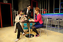 "London, UK. 11/11/2011. ""EX"", a new musical, opens at the Soho theatre. A Two's Company and Soho Theatre production, written by Rob Young, music by Ross Lorraine and directed by Tricia Thorns. Picture shows Gerard Carey (as Jack), Simon Thomas (as Keith) and Amy Booth-Steel (as Ruby). Photo credit: Jane Hobson"