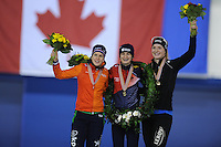SPEED SKATING: CALGARY: Olympic Oval, 08-03-2015, ISU World Championships Allround, Final Podium Ladies, Ireen Wüst (NED), Martina Sábliková (CZE), Ida Njåtun (NOR),  ©foto Martin de Jong