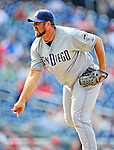 29 May 2011: San Diego Padres pitcher Heath Bell in action against the Washington Nationals at Nationals Park in Washington, District of Columbia. The Padres defeated the Nationals 5-4 to take the rubber match of their 3-game series. Mandatory Credit: Ed Wolfstein Photo