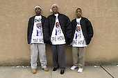 Joey Thomas 14, Eddie Turner 17 and Jaquan Austin 14 don shirts tributing Dontae Fountain a 17 year old Trenton youth on Tuesday January 27, 2003, a young victim fallen to violence. photo by jane therese