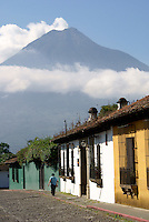 Street in Antigua, Guatemala, with Agua Volcano in background. Antigua is a UNESCO World heritage site...