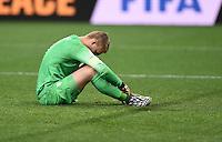 FUSSBALL WM 2014                HALBFINALE Niederlande - Argentinien       09.07.2014 Torwart Jasper Cillessen (Niederlande) ist nach dem Spiel enttaeuscht