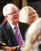 John Lithgow and his wife, Dr. Mary Yeager Lithgow, listen as United States President Barack Obama makes remarks prior to presenting the 2011 National Medal of Arts and 2011 National Humanities Medal in the East Room of the White House in Washington, D.C. on Monday, February 13, 2012..Credit: Ron Sachs / Pool via CNP