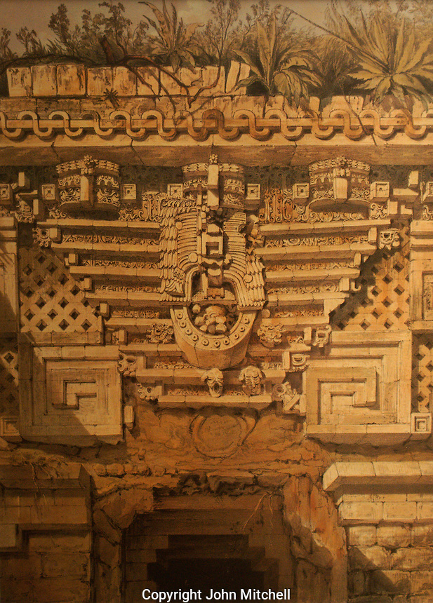 Nineteenth century lithograph entitled Idol over Principal Doorway, Casa de Gobernador, Uxmal by Frederick Catherwood in the Casa Catherwood in Merida, Yucatan, Mexico