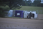 An overturned truck at Winchester as the result of storm damage in Oxford, Miss. on Wednesday, April 27, 2011.