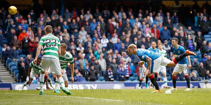 Martyn Waghorn attempts a header on goal
