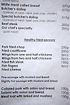 Menu of Czech specialties listed in English, Czech Republic, Europe