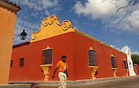 Colourful facades on old buildings in the colonial part of Coro town, a UNESCO heritage site.