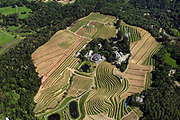 aerial view above Benziger Winery and vineyards in Glenn Ellen CA Sonoma county