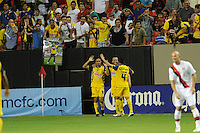 Enrique Esqueda celebrates his 48th minute goal, which tied the match 1-1. The 2010 Atlanta International Soccer Challenge was held, Wednesday, July 28, at the Georgia Dome, featuring a match between Club America and Manchester City. After regulation time ended 1-1, Manchester City was awarded the victory, winning 4-1, in penalty kicks.