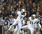 Vanderbilt wide receiver Josh Grady (7) and Vanderbilt safety Javon Marshall (31) celebrate win over Ole Miss at Vaught-Hemingway Stadium in Oxford, Miss. on Saturday, November 10, 2012.