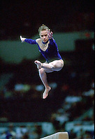 July 22, 1998; New York, NY, USA;  Artistic gymnast Evgenia Kuznetsova of Russia performs on balance beam at 1998 Goodwill Games New York. Copyright 1998 Tom Theobald