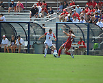 Ole Miss' Erin Emerson (3) vs. Louisiana-Lafayette's Brooke Gros (27) in college soccer action at the Ole Miss Soccer Stadium in Oxford, Miss. on Sunday, August 26, 2012. Rafaelle Souza delivered her fourth goal of the season in the 12th minute for Ole Miss (4-0).