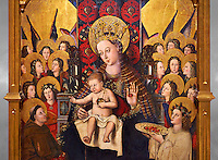 Virgin Mary; Mother of God; The Virgin; Mare de deu; Gothic altarpiece of Madonna and Child by Joan Reixach of Barcelona, circa 1450, tempera and gold leaf on wood, from the sanctuary of San Pau d'Albocasser, Castello..  National Museum of Catalan Art, Barcelona, Spain, inv no: MNAC  64055. Against a grey art background.