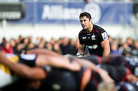 Brad Barritt of Saracens watches a scrum. Aviva Premiership match, between Saracens and Wasps on October 9, 2016 at Allianz Park in London, England. Photo by: Patrick Khachfe / JMP