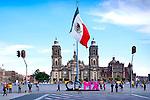 Mexico, Mexico City, Metropolitan Cathedral, Zocalo, CDMX Sign, Ciudad de Mexico, Changed From DF or Distrito Federa, Mexican Flagl