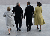 Washington, DC - January 20, 2009 -- United States President Barack Obama talks with former US President George W. Bush as they walk alongside First Lady Michelle Obama and Laura Bush as the Bushes prepare to leave the US Capitol on the presidential helicopter after Obama was sworn in as the 44th US president in Washington, DC, on January 20, 2009. .Credit: Saul Loeb - Pool via CNP