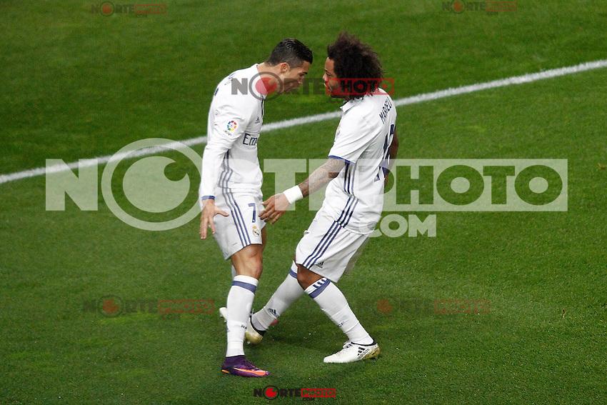 Real Madrid's Cristiano Ronaldo (l) and Marcelo Vieira celebrate goal during La Liga match. November 19,2016. (ALTERPHOTOS/Acero) /NORTEPHOTO.COM