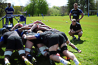 Bath Rugby first team coach Neal Hatley watches a scrummaging session. Bath Rugby training session on May 3, 2016 at Farleigh House in Bath, England. Photo by: Patrick Khachfe / Onside Images