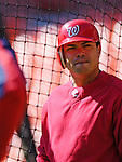 11 April 2006: Jose Vidro, second baseman for the Washington Nationals, awaits his turn during batting practice prior to the Nationals' Home Opener against the New York Mets in Washington, DC. The Mets defeated the Nationals 7-1 to start the 2006 season at RFK Stadium...Mandatory Photo Credit: Ed Wolfstein Photo..