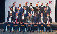 Baltimore, MD - January 14, 2015: The coaches of MLS pose for a portrait before the MLS SuperDraft at the Baltimore Convention Center.