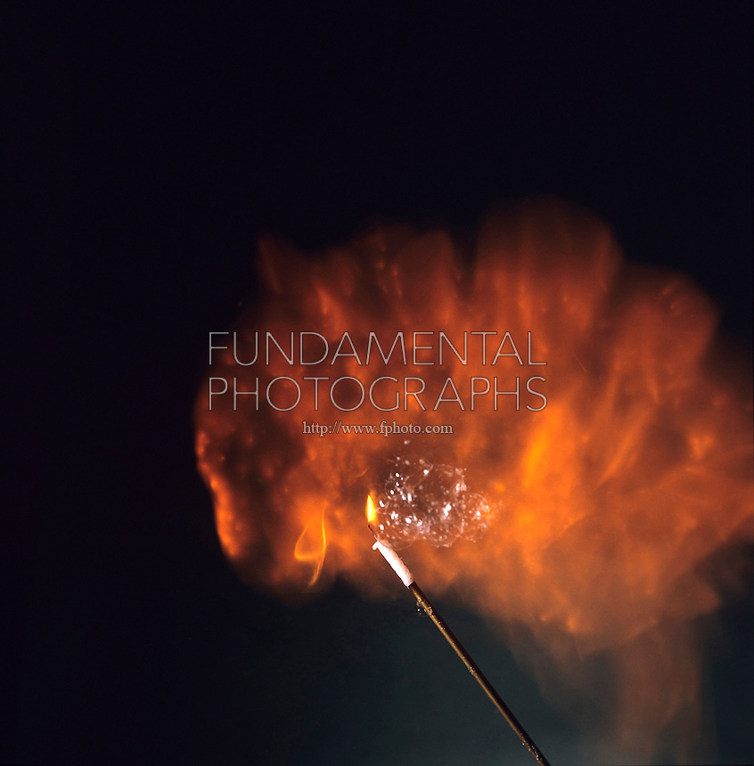 IGNITION OF HYDROGEN SOAP BUBBLES<br /> Exothermic Reaction Between Hydrogen &amp; Oxygen<br /> As the bubbles float upward, they are ignited using a candle on a long pole. The orange flame is due to the reaction of hydrogen with the oxygen in the air.