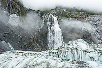 Victoria Falls on Fox Glacier, Westland Tai Poutini National Park, West Coast, UNESCO World Heritage Area, New Zealand, NZ