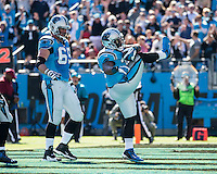 The Carolina Panthers defeated the Atlanta Falcons 34-10 in an inter-division rivalry played in Charlotte, NC at Bank of America Stadium.  Carolina Panthers fullback Mike Tolbert (35) celebrates a touchdown run.