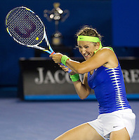 VICTORIA AZARENKA (BLR) against MARIA SHARAPOVA (RUS)) in the Final of the Women's SIngles. Victoria Azarenka beat Maria Sharapova 6-3 6-0..28/01/2012, 28th January 2012, 28.01.2012 - Day 13..The Australian Open, Melbourne Park, Melbourne,Victoria, Australia.@AMN IMAGES, Frey, Advantage Media Network, 30, Cleveland Street, London, W1T 4JD .Tel - +44 208 947 0100..email - mfrey@advantagemedianet.com..www.amnimages.photoshelter.com.