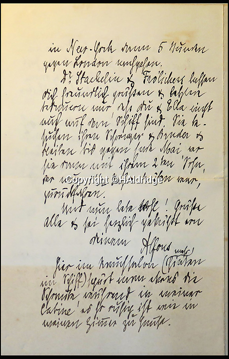 BNPS.co.uk (01202 558833)<br /> Pic: HAldridge/BNPS<br /> <br /> A never-before-seen letter from a Titanic passenger in which he expressed his regret that his wife and daughter were not with him has surfaced.<br /> <br /> Alfons Simonius-Blumer wrote a remarkable account of life on board the luxury liner as the doomed liner sailed on her maiden voyage 105 years ago.<br /> <br /> His four page letter home to his wife gave a fascinating insight into what first class passengers got up to during their days.<br /> <br /> The Swiss banker described visiting the ship's gymnasium and riding the electric horse and camel machines for exercise, going to the Turkish baths and smoking room and dining with friends in the evening.<br /> <br /> The letter is tipped to fetch &pound;22,000 at auction this weekend.