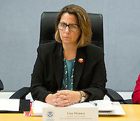 Lisa Monaco, United States Homeland Security Advisor to US President Barack Obama listens after receiving a briefing on Hurricane Matthew at the Federal Emergency Management Agency (FEMA) in Washington DC, October 5, 2016.<br /> Credit: Chris Kleponis / Pool via CNP /MediaPunch