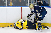 Ryan Flanigan (Merrimack - 20), Stephen Johns (Notre Dame - 28) - The University of Notre Dame Fighting Irish defeated the Merrimack College Warriors 4-3 in overtime in their NCAA Northeast Regional Semi-Final on Saturday, March 26, 2011, at Verizon Wireless Arena in Manchester, New Hampshire.