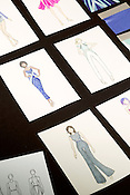 April 21, 2014. Raleigh, North Carolina.<br />  Drawings by Gillian Paige.<br />  Preview of the NC State School of Design 2014 Art to Wear fashion show.