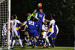 05 October 2015: Duke's Brian White (24) challenges Hofstra's Patric Pray (in green) for the ball. The Duke University Blue Devils hosted the Hofstra University Pride at Koskinen Stadium in Durham, NC in a 2015 NCAA Division I Men's Soccer match. Duke won the game 3-2 in overtime.