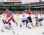 Adam Chapie (UML - 13), Jake Suter (UML - 28), Joseph Pendenza (UML - 14), Zack Kamrass (UML - 27) - The Northeastern University Huskies defeated the University of Massachusetts Lowell River Hawks 4-1 (EN) on Saturday, January 11, 2014, at Fenway Park in Boston, Massachusetts.