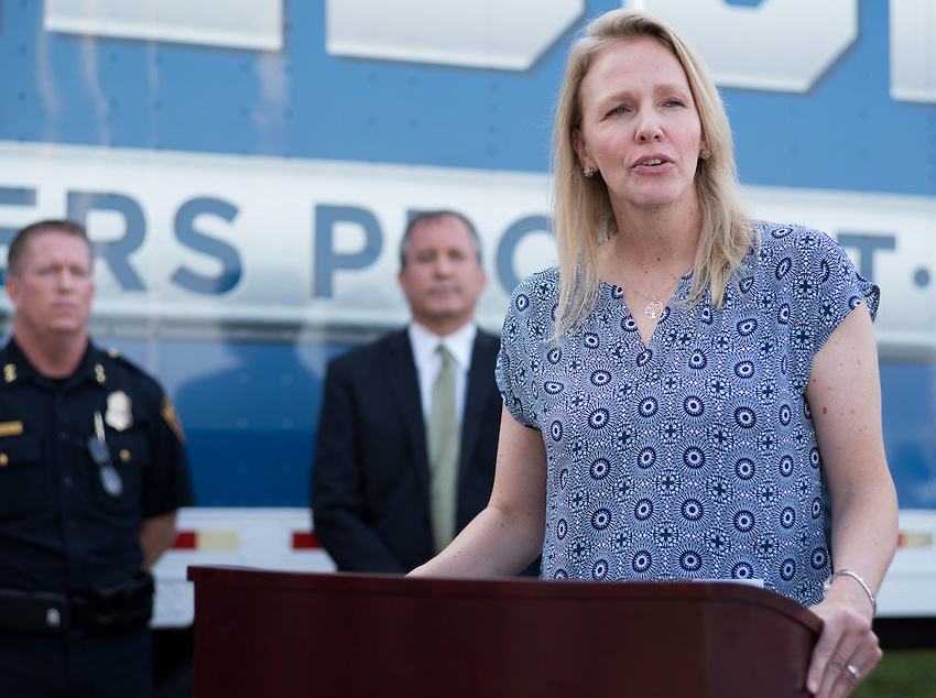 Kendis Paris, Executive Director of Truckers Against Trafficking, speaks during a press conference about combating human trafficking in Texas, Thursday, Sept. 1, 2016, at the San Antonio Police Department Public Safety Headquarters in San Antonio. (Darren Abate for the Texas Tribune)