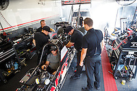 Sep 25, 2016; Madison, IL, USA; Crew members with NHRA top fuel driver Steve Torrence during the Midwest Nationals at Gateway Motorsports Park. Mandatory Credit: Mark J. Rebilas-USA TODAY Sports
