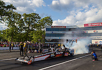 May 30, 2014; Englishtown, NJ, USA; NHRA top fuel driver Clay Millican during qualifying for the Summernationals at Raceway Park. Mandatory Credit: Mark J. Rebilas-