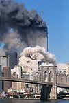 The 110-story South Tower of the World Trade Center collapses on September 11, 2001.