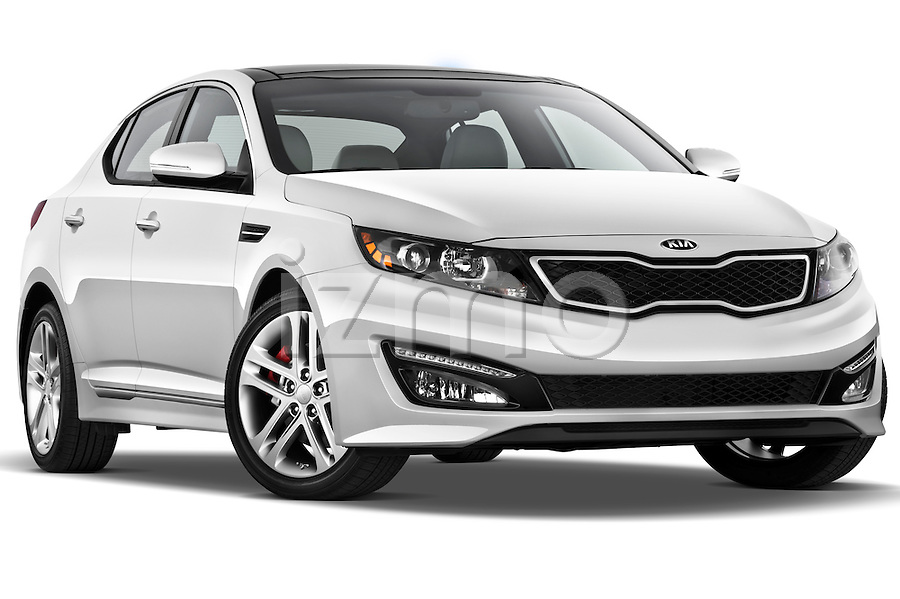 passenger side front three quarter view of a 2013 Kia Optima SXL