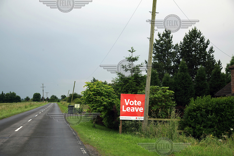 A 'vote leave' (in the EU referendum) sign on a roadside outside the town. <br /> The town of Boston had the country's highest proportion of 'leave' votes cast in the EU referendum with almost 76 percent of ballots cast for Brexit. Lincolnshire has, in recent years, seen an influx of EU workers drawn to the area's agricultural industry. The 2011 census found about 13 percent of Boston's residents were born in Eastern Europe and migrated to the UK since 2004.