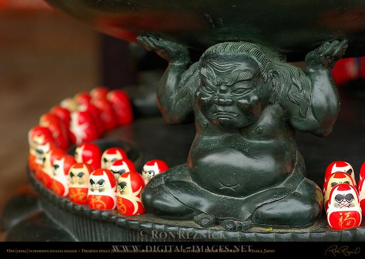 Oni Troll supporting Incense Holder, Dharma Dolls, Daruma, Bodhidharma, good luck charm, Katsuoji, Minoh Mountain, Osaka, Japan