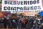 Ignacio del Valle (2nd L-R) and other peasants rise their hands while attendig the National Convention against the imposition of Enrique Pena Nieto in San Salvador Atenco, Mexico state, July 14, 2012. More than two thousand people from twenty five states attended the Convention to plan actions in order to prevent Pena Nieto to take office on December 1, 2012 as they accuse him from buying ballots and money laundering during the elections . Photo by Heriberto Rodriguez