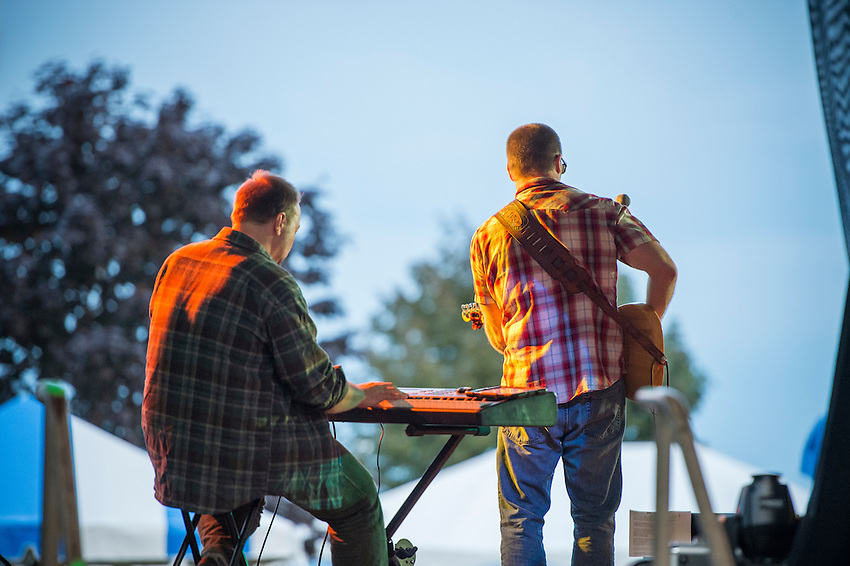 The band Trailer Hitch performs during Harbor Fest in Marquette, Michigan.