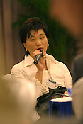 Zhang Mei, Chinese novelist/writer, speaking at a seminar in Guangzhou as part of the Think UK Writers Train project. The Think UK China Writers Train is a project, in collaboration with the British Council, to take 4 UK writers/poets and 4 Chinese writers/poets around China by train visiting 6 major cities, in 17 days, to hold talks, seminars and readings of their work.