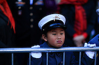 Children disguised as military members watches the annual Veterans Day parade in New York.  10.11.2014. Eduardo Munoz Alvarez/VIEWpress