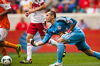 New York Red Bulls goalkeeper Luis Robles (31). The New York Red Bulls defeated the Houston Dynamo 2-0 during a Major League Soccer (MLS) match at Red Bull Arena in Harrison, NJ, on June 30, 2013.