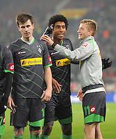 FUSSBALL   1. BUNDESLIGA  SAISON 2011/2012   19. Spieltag   29.01.2012 VfB Stuttgart - Borussia Moenchengladbach    Havard Nordtveit, Dante Bonfim, Marco Reus (v. li., Borussia Moenchengladbach)