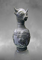 6th century BC Etruscan Bull headed bucherro style oinochoe, or wine jug,  made in Chuisi and excavated from the necropolis de Fonte Rotella, inv 3190, National Archaeological Museum Florence, Italy  , grey art background